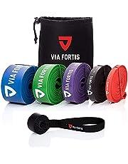 Via Fortis Premium fitnessbanden met tas en handleiding met oefeningen, weerstandsbanden voor crossfit, calisthenics of freeletics workout, optrekband, in verschillende maten