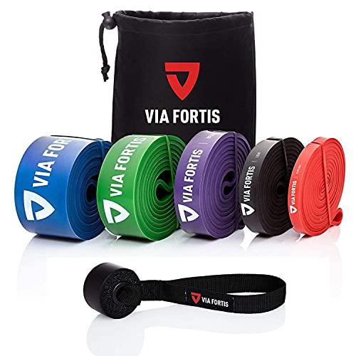 VIA FORTIS Banda Elástica de Resistencia Cuerda de Fuerza para Fitness, Crossfit, Pilates, Estiramientos| Incluye Bolsa de Transporte | 5 Niveles de Resistencia Diferentes (1 - Ultra Light (Rojo))