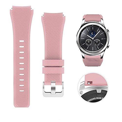 Banda de Silicona de 22 mm para Samsung Galaxy Watch 46mm Sports Sports para Samsung Gear S3 Frontier/Reloj clásico #531 (Color : Pink, Size : For Gear S3 Frontier)