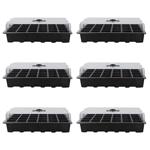 Cabilock 6 Juegos de Bandeja de Inicio de Semillas con Cúpula de Orificios de Drenaje 24 Bandejas de Plantas de Semillas Bandejas de Germinación de Semillas Reutilizables Caja Propagadora
