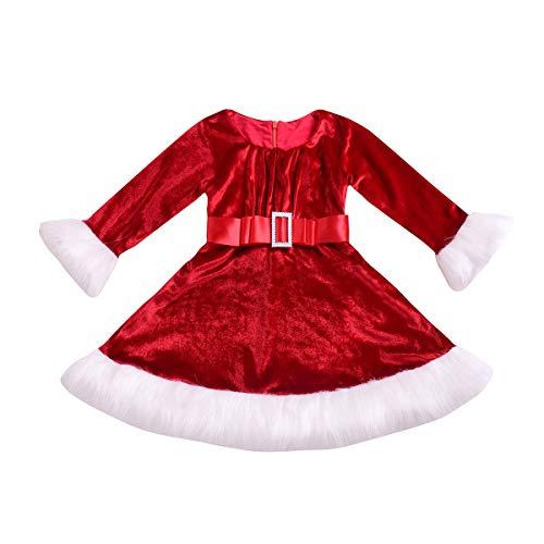 Geagodelia Abito Natalizio per Bambina Vestito a Maniche Lunghe con Cintura Babbo Natale Neonata 0-5 Anni Invernale (Rosso, 6-12 Mesi)