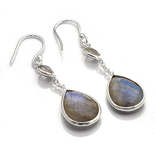 Silver Palace Pendientes de lágrima de plata de ley 925 con piedras preciosas naturales para mujeres y niñas