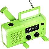 Radio Solar Dinamo, Manivela Radio,Radio De Emergencia Portátil Am/FM/WB,Banco De Energía De 4000 MAh Batería Recargable USB, LED Flashlight,Luz Leer,SOS Alarm,Resistente Al Agua (Color : Green)