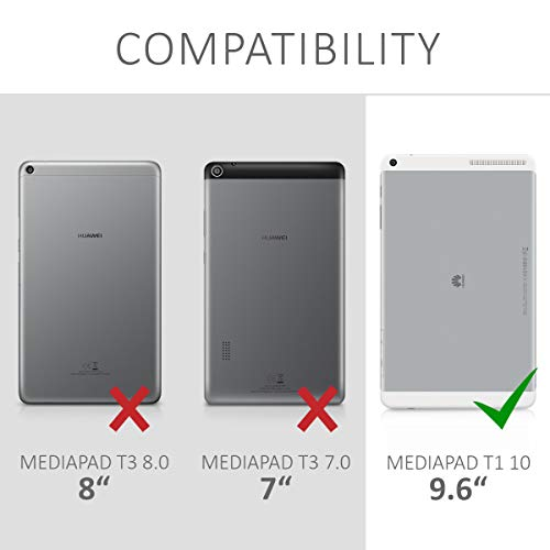kwmobile Huawei MediaPad T1 10 Hülle - Tablet Cover Case Schutzhülle für Huawei MediaPad T1 10 - Grau Schwarz mit Ständer - 6