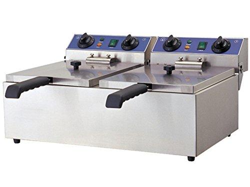 Profi Doppel-Fritteuse, Edelstahl, 6000 Watt, 20 Liter, Sicherheitsthermostat; WF-102 GGG