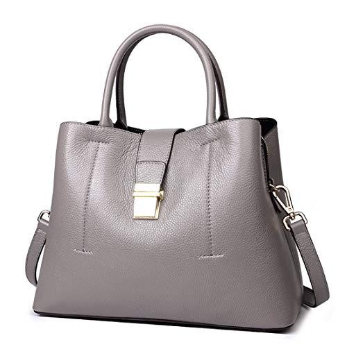 AMTSKR Weibliche Pendler-Einkaufstasche Leder-Beuteltasche Große Kapazität Umhängetasche Wild Messenger Bag Mode-Vintage-Design (Farbe : Dunkelgrau)