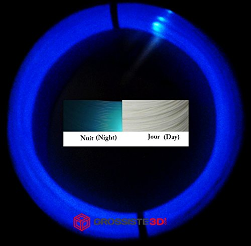 Grossiste3D - Rotoli di 10metri di filamento 3D fosforescente blu, PLA, 1,75mm, per penne 3D o stampanti 3D