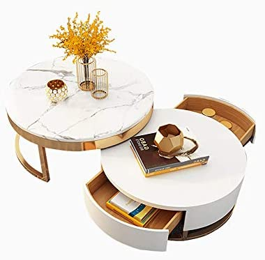 Best Homary Round Coffee Table White with Storage White Faux Marble Nesting Coffee Table with Rotatable D