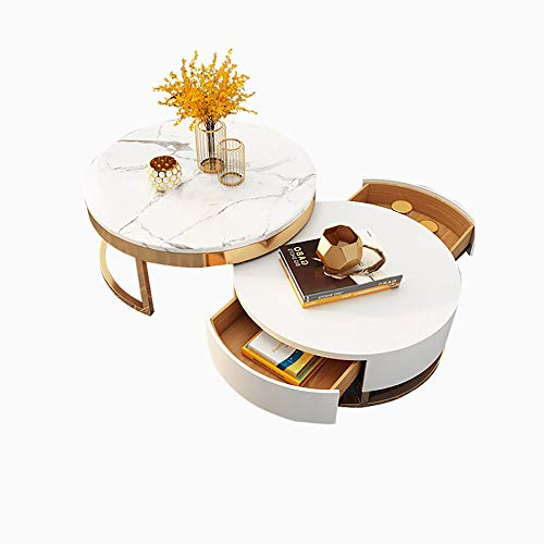 Homary White Round Coffee Table with Storage White Faux Marble Nesting Coffee Table with Rotatable Drawers