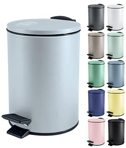 Spirella Kosmetikeimer 5 Liter Edelstahl mit Absenkautomatik und Inneneimer Adelar Badezimmer Mülleimer Softclose Abfalleimer Ice Blau