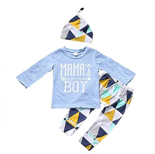 Mellons Baby Boys MAMA'S BOY Sleeve Short T-shirts Tops + Geometric Splicing Pants Outfits Set (100, Blue(long sleeves))