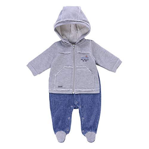 Macacão com pés Longo Plush, Bebê meninos, Din Don, Mescla/Azul Jeans, M