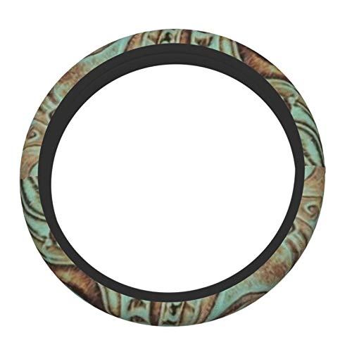 Rustic Brown Teal Western Country Tooled Leather Steering Wheel Cover Anti-Slip Durable Elasticity 15 Inches Universal Protector Car Accessories Suitable for Most Vehicles Cars and SUV