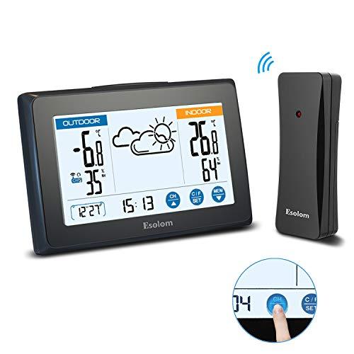 Esolom Wetterstation mit Funk Außensensor, Digitaler Thermometer-Hygrometer für Innen Außen mit Wettervorhersage, Hintergrundbeleuchtung, Uhrzeit und Datum, Touchscreen, 3 Kanäle