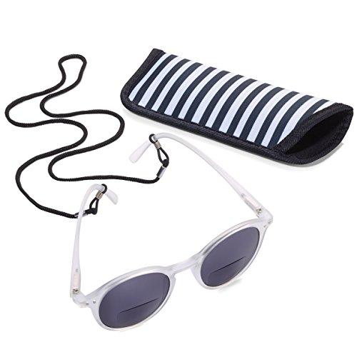 TROIKA Sun Reader 2 – SUR10/WH – Gafas de Sol y Lectura graduación +1,00 dpt – bifocal – con Estuche – policarbonato/acrílico/Microfibra – Blanco – TROIKA-Original