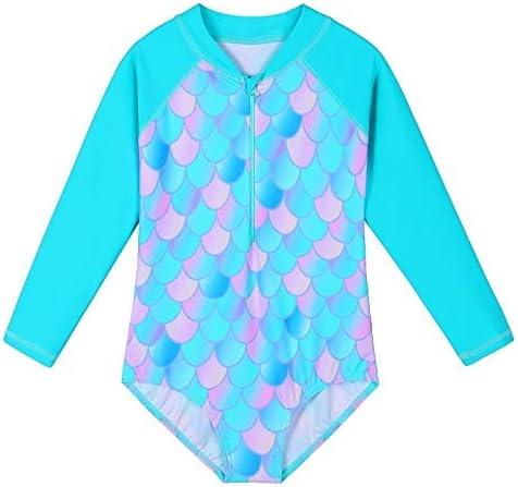 ZNYUNE Girls One Piece Rashguard Swimwear Long Sleeve Swim Suit with Zipper UPF 50+ Sun Protection 4-11Y