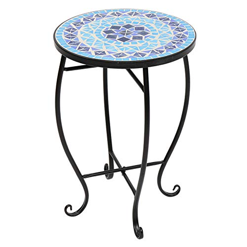 Bohemia Mosaic Stained Glass Side Table Turkey Indoor Outdoor End Table Blue Surface Flower Stand for Patio Lawn Garden Home Décor