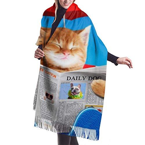 Fendy-Shop Periódico de lectura de gato en silla de playa Bufanda de cachemir para mujeres Hombres Bufandas de invierno suaves unisex ligeras Envolturas de chal con flecos