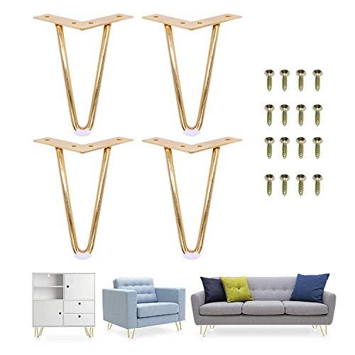 7'H Rose Gold Hairpin Legs- Leg Protectors(4) + Screws(16) [Set of 4] - Furniture Legs Sofa Cabinet Furniture Leg Feet Coffee Tea bar Stool Chair Leg Feet -Mid Century Modern by Homeland Hardware