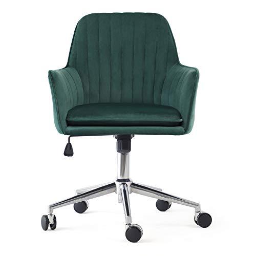 Irene house Silla giratoria de oficina regulable en altura Silla de escritorio ergonómica silla de dormitorio de tela terciopelo estilo moderno (verde)