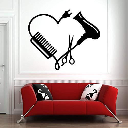 XCSJX Tatuajes de Pared Peluquería Vinilo Pegatina Decoración de Ventana Tijeras Pegatinas de Pared Arte Patrón Salón de Belleza Peine del corazón Extraíble 57x68 cm