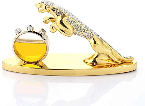 zvcv Escultura Animal Estatua De Leopardo, Escultura De Jaguar De León De Leopardo De Estilo Nórdico, Asiento De Perfume Creativo Decoración De Coche De Leopardo De Dinero De Diamante, Oro