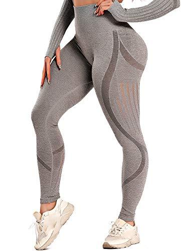 INSTINNCT Damen Yoga Lange Leggings Slim Fit Fitnesshose Sporthosen #3 Laser Stil - Grau S