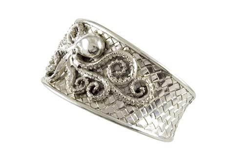 Shadi, étnico - Brazalete de plata de ley con relieve de un pulpo (joyería de plata artesanal, bizantinos, borobudur - regalo - mujer - hombre - Navidad - Reyes - cumpleaños)