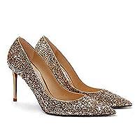 スティレットハイヒール、レディースファッションポインテッドトゥハイヒールパンプスセクシーファッションエレガントラインストーンバックルスティレットハイヒールウェディングブライダルハイヒール,D heel height 10cm,EU37