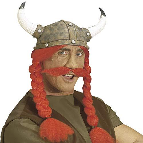 NET TOYS Gehörnter Wikinger-Helm mit rotem Bart und Zöpfen | Origineller Herren-Hörnerhelm Gallier | Bestens geeignet für Fasching & Karneval