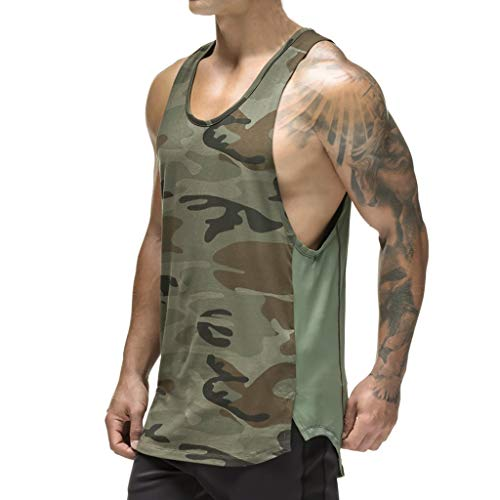 Magiftbox Mens Workout Mesh Quick-Dry Muscle Tank Tops for Bodybuilding Gym Training Black/Camo T09A_Camo_US-L