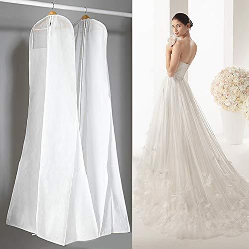 ZAK168 - Funda para vestido de novia (180 cm, tela no tejida, transpirable, resistente al polvo, protector para colgar), Blanco, Tamaño libre