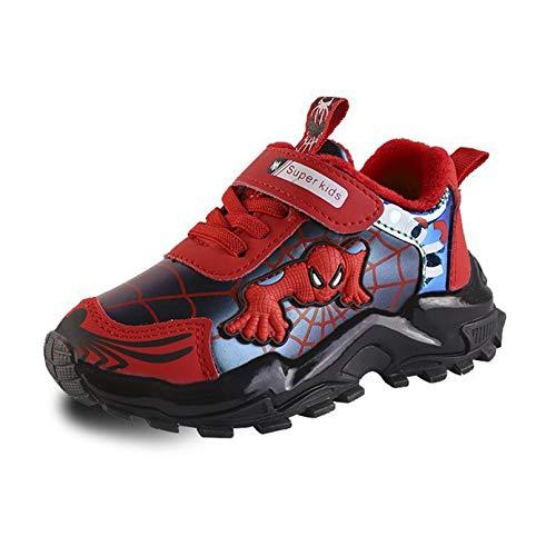 XNheadPS Boys Spiderman Sneakers Unisex Moda Casual Zapatillas para Correr Casual Tenedores de Cuero Ligero superhéroes Slips de Dibujos Animados en Zapatos Deportivos,Red- 26 Inner Length 16