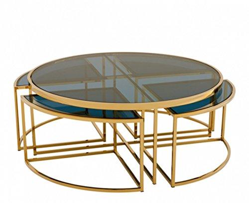 Casa Padrino Art Deco Couchtisch Gold Finish - Wohnzimmer Salon Tisch Qualität