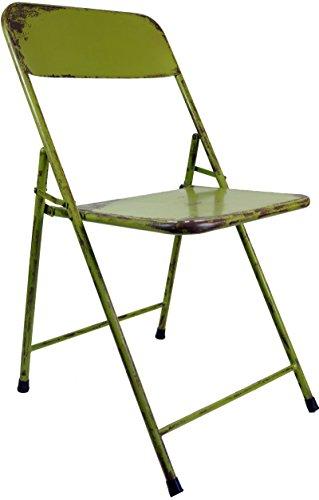 Guru-Shop Klappstuhl aus Metallrohr im Industrial Vintage Design - Grün, 80x42x50 cm, Sitzmöbel