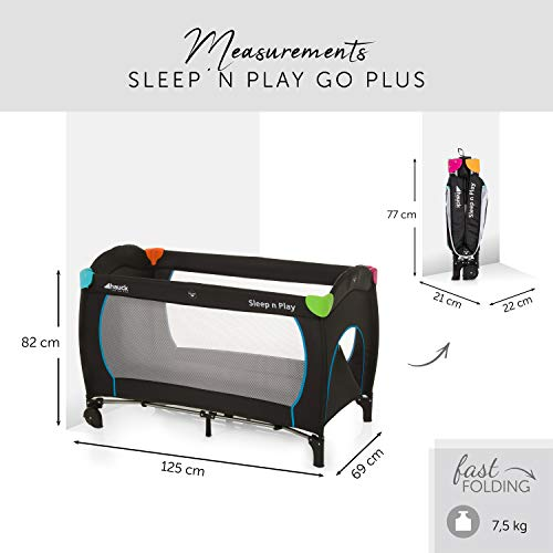 Hauck Sleep N Play Go Plus Kombi-Reisebett, 4-teilig, ab Geburt bis 15 kg, inkl. Gesetzl. Schlupf, Rollen, Matratze, Tragetasche, mehrfarbig schwarz - 2