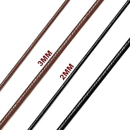 Richsteel 2mm Cuero Collar Fino Hombre 55cm para Colgantes Negro Cordones Cuero Trenzado con Buen Cierre