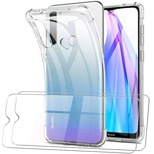 SMYTU Hülle mit 2 Panzerglas für Xiaomi Redmi Note 8T,Ultra Slim Silikonhülle Durchsichtig Handyhülle Flexible TPU Crystal Hülle Cover Bumper Schutzhülle für Xiaomi Redmi Note 8T -Clear