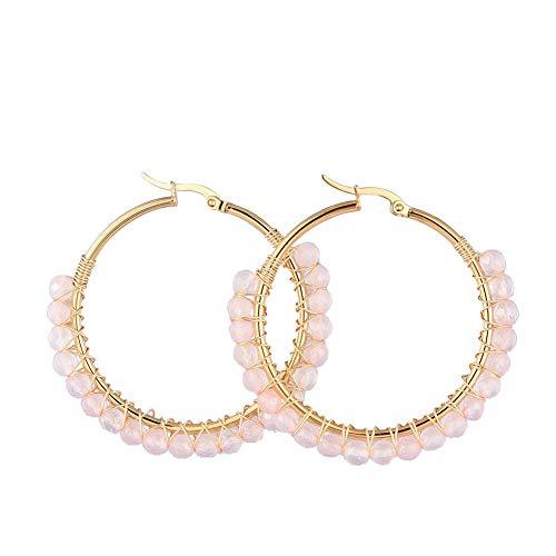 SHEGRACE Pendientes de Aro, con Perlas de Cuarzo Rosa Natural, Pendientes de Acero Inoxidable Bañados en Oro, 50 mm