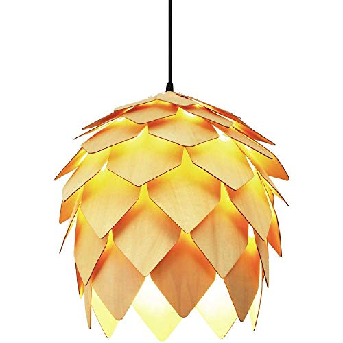 YANGDONG-Luz de cristal de estilo industrial creat Creative Chinese Chandelier Mediterráneo Pastoral Americana Casa Raro Luces Colgantes Pin Cono Japonés Bambú Ajustable Lámparas Colgantes E27 Install