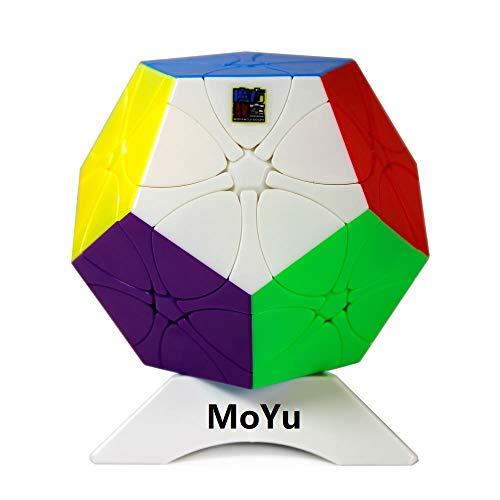FunnyGoo MoYu MoFang JiaoShi MFJS Cubing Classroom Redi Rediminx Meilong Plum Blossom Megaminx Dodecaedro 12 Superficie Velocidad Cubo de Rompecabezas mágico + Soporte de un Cubo Stickerless