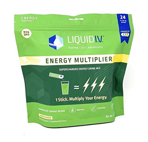 Liquid I.V. Energy Multiplier, 24 Count,Super-Charged Energy Drink Mix, 9 Essential Vitamins, Natural Caffeine, Easy Open Packets, Supplement Drink Mix,Lemon Ginger (Packaging May Vary)