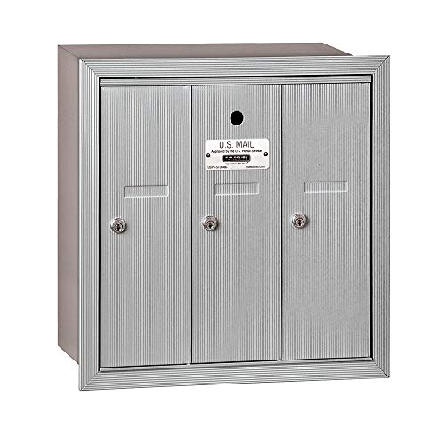 Salsbury Industries 3503ARU Recessed Mounted Vertical Mailbox with 3 Doors and USPS Access, Aluminum