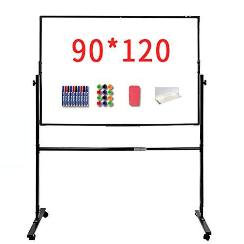 Pizarra Blanca Magnética Móvil, con Giro De 360 °, Pizarra De Pie con Altura De Soporte Ajustable, Adecuada para Instituciones De Formación,Escuelas,90×120
