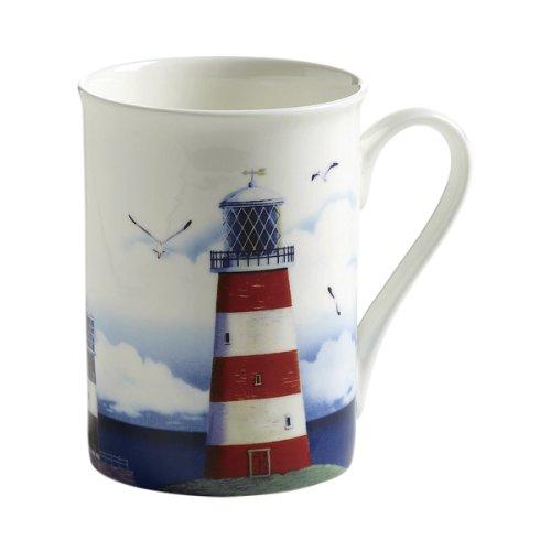 Maxwell & Williams S88005 Nautical Becher, Kaffeebecher, Tasse, Leuchtturm, in Geschenkbox, Porzellan