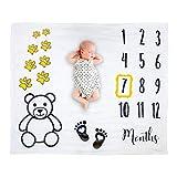 "Baby Milestone Blanket for Baby Boy, Girl, Super Soft Teddy Bear & Paw Print Large Fleece, 47"" x 43"", Includes Frame"