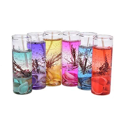 Aiglen 6 Piezas Velas de aromaterapia sin Humo Conchas oceánicas gelatina Aceite Esencial Velas de Boda Velas aromáticas románticas
