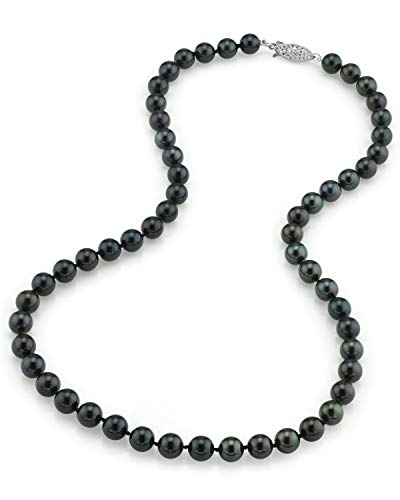 "THE PEARL SOURCE 14K Gold 7.0-7.5mm Round Genuine Black Japanese Akoya Saltwater Cultured Pearl Necklace in 18"" Princess Length for Women"