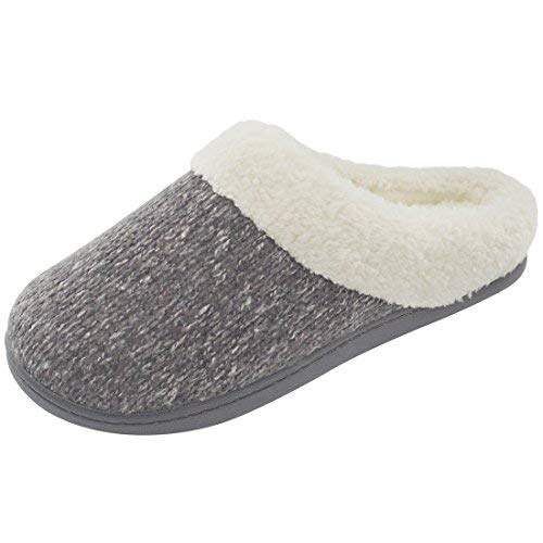 ULTRAIDEAS Women's Cozy Memory Foam Knit Slippers, Ladies' Slip on Mules House Shoes with Indoor Outdoor Anti-Skid Rubber Sole (Gray,7-8)