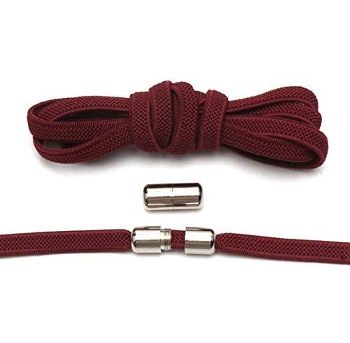 Metalen slot Ronde Elastische schoenveters Platte Veiligheid Geen Tie Schoeisel Geschikt voor Alle soorten Schoenen Accessoires Veters Wijn rood 100cm